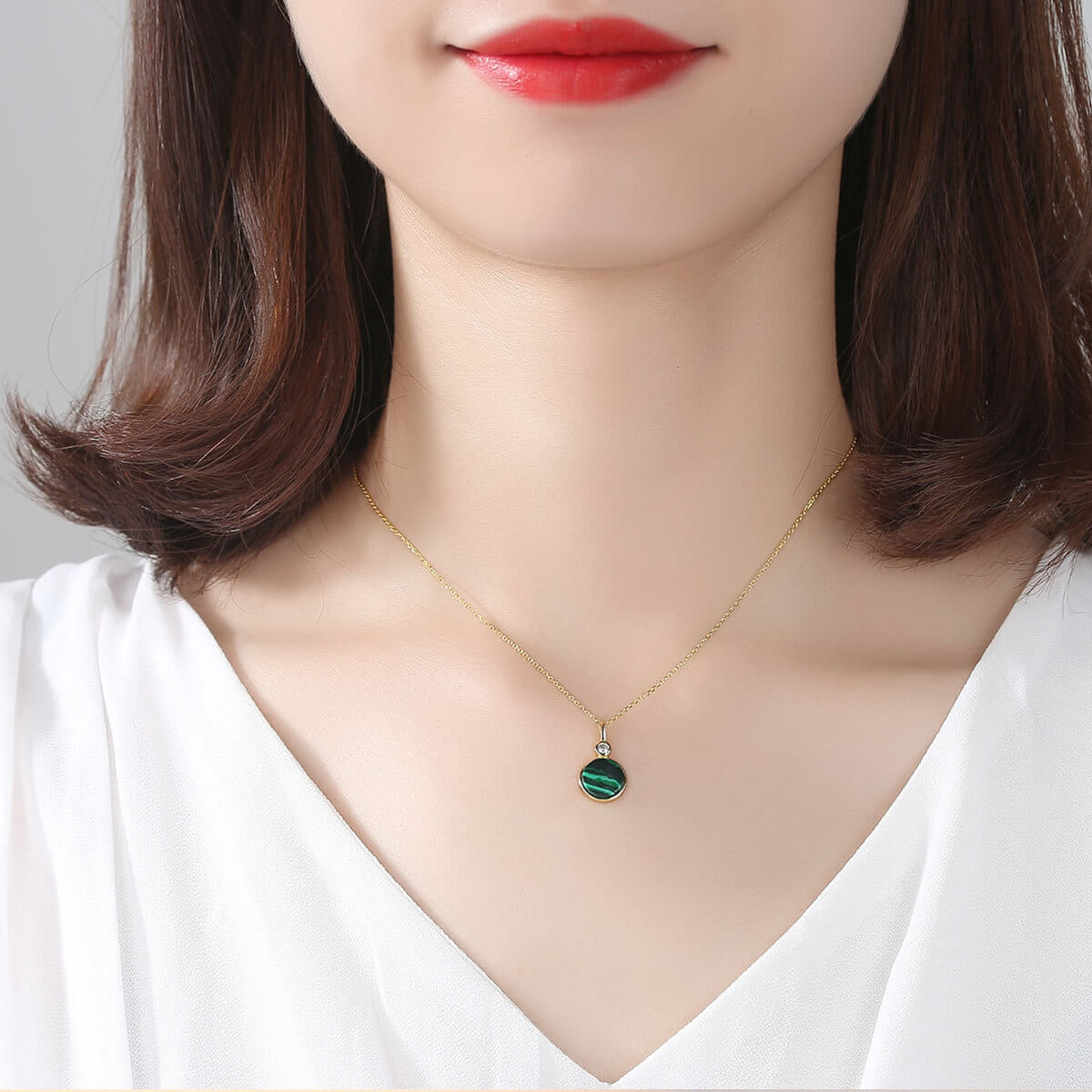 Model wears Round Malachite Lady's Sterling Silver Necklace