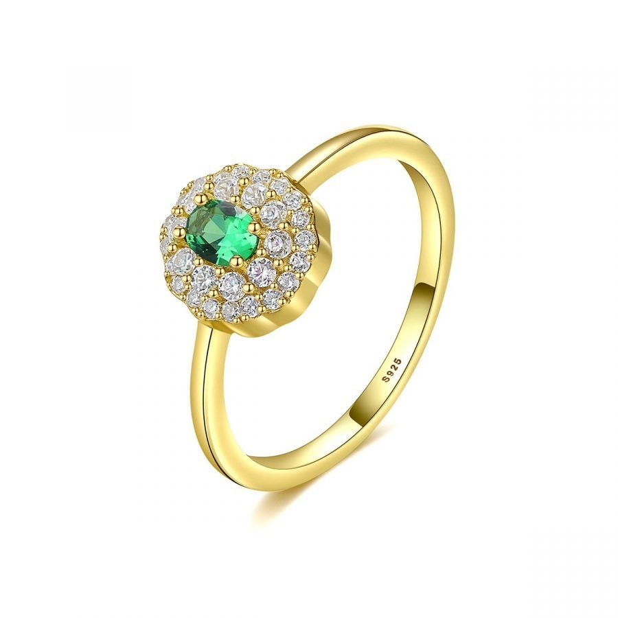 emerald gold engagement ring