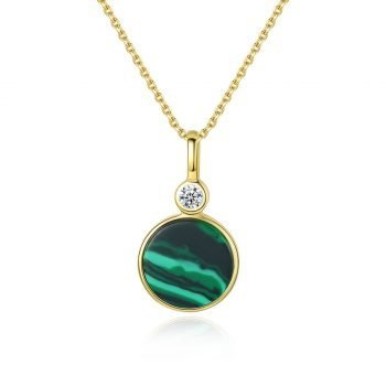 Round Malachite Lady's Sterling Silver Necklace