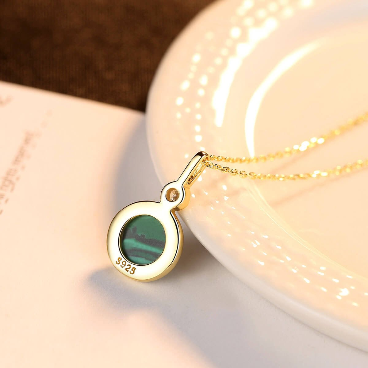 Round Malachite Student's Sterling Silver Necklace