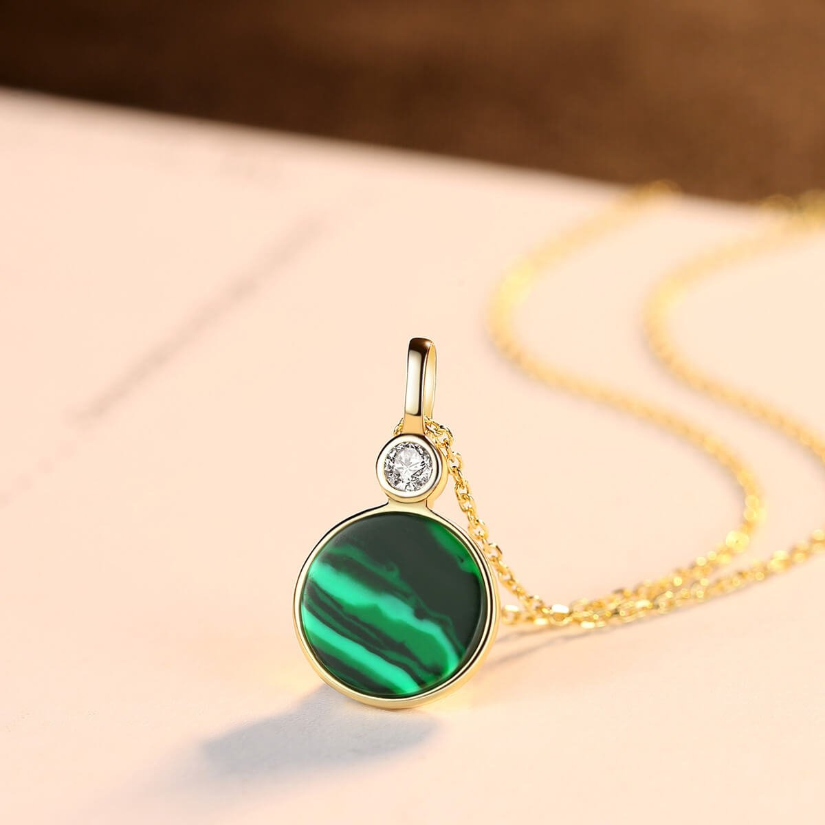 Round Malachite women's Sterling Silver Necklace