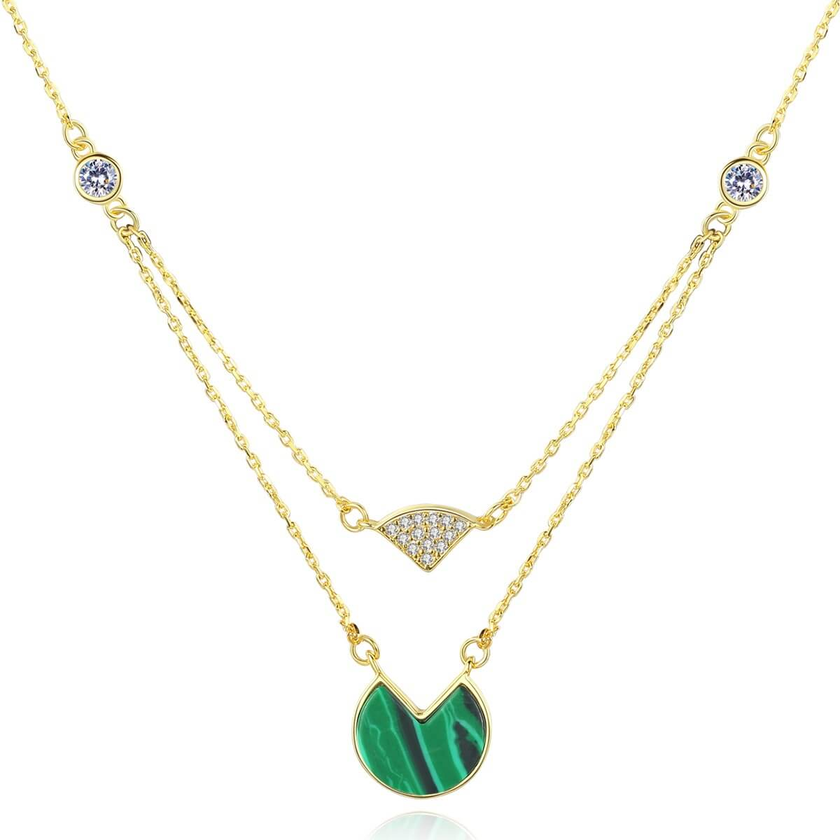 Sterling silver clavicle necklace for ladies with malachite