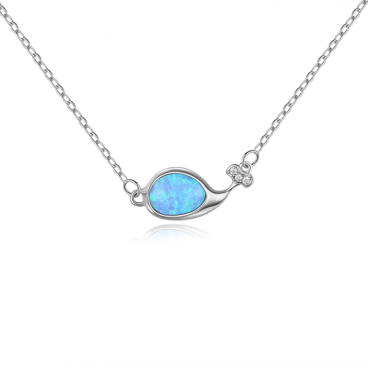 Whale-shaped ladies' sterling silver clavicle necklace