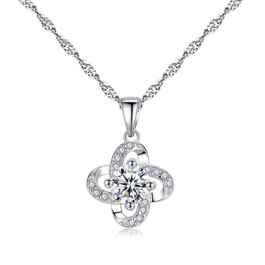 Four-leaf clover lady's sterling silver diamond necklace