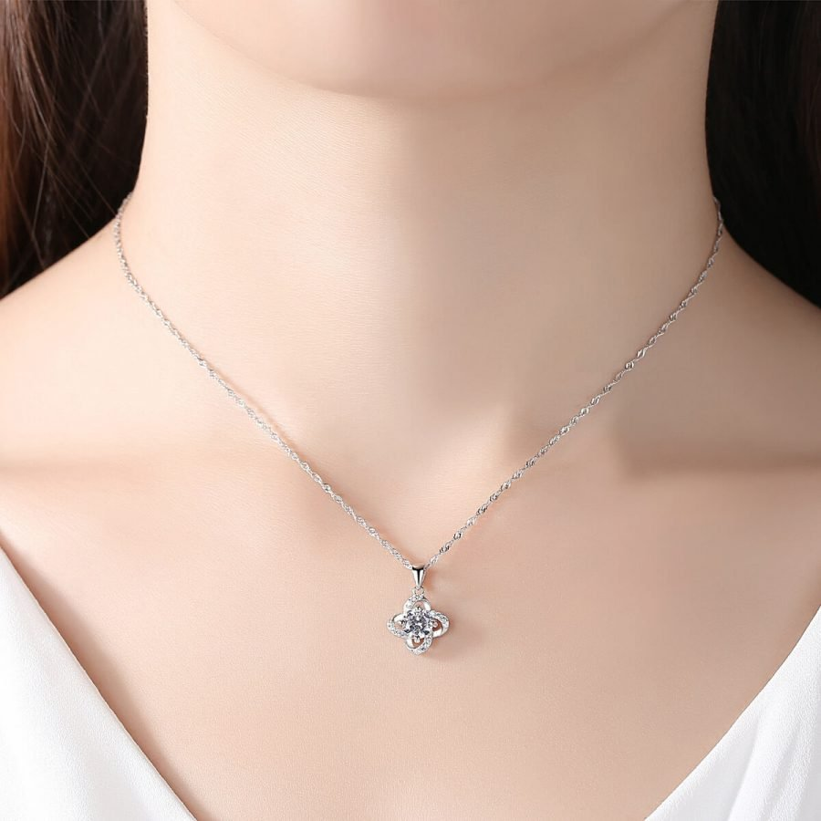 Four-leaf clover student's sterling silver diamond necklace
