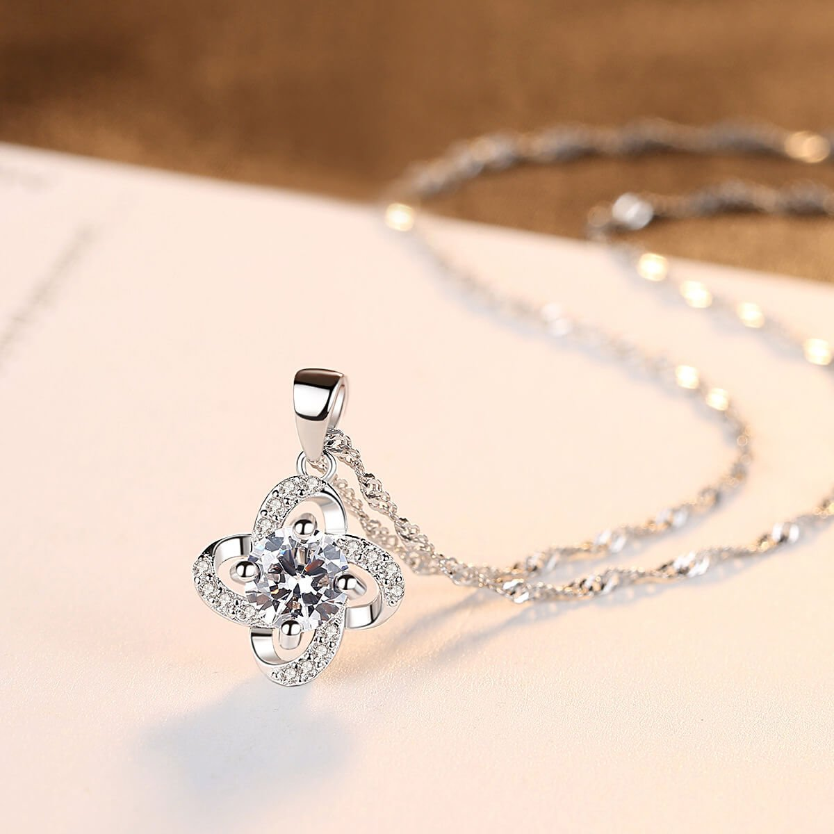 Four-leaf clover women's sterling silver diamond necklace