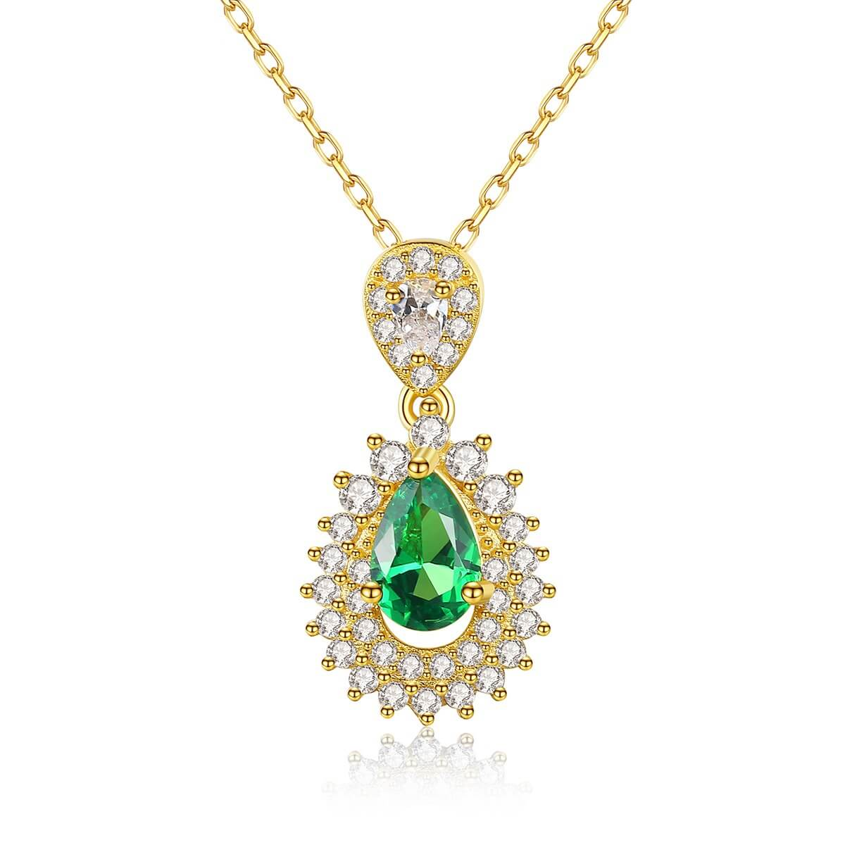 Sterling silver necklace for ladies with emeralds