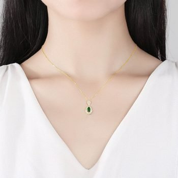 Sterling silver necklace for women with emeralds